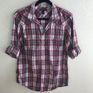 INC Red & White Plaid Western Snap Front Shirt
